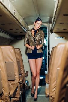 Mooie stewardess in een vliegtuig glimlachend reizend en straalvliegtuig vliegende stewardess charmante ste...