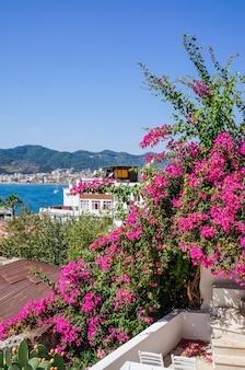 Mooie straten in de oude stad van marmaris met planten en bloemen op zonnige dag