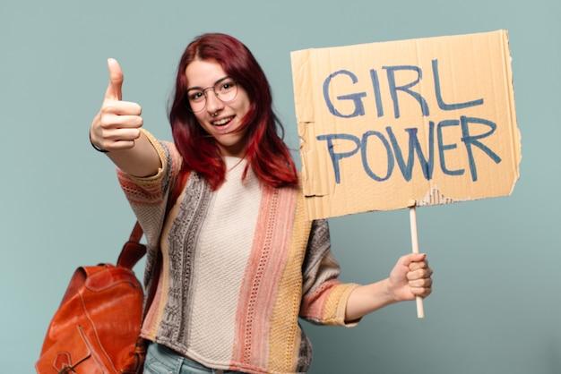 Mooie studentenactivist met girl power board
