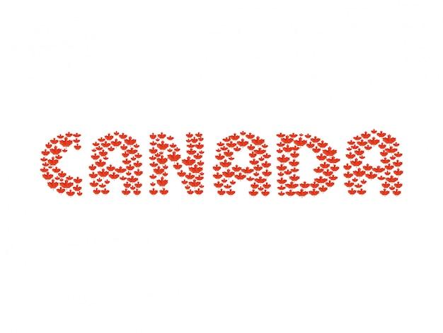 Mooie tekening van de canadese vlag en het woord van canada