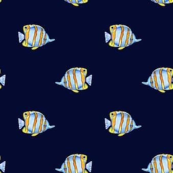 Mooie tekening van heldere vissen. foto geschilderd met aquarellen. detailopname
