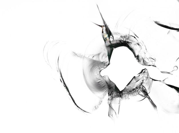 Mooie textuur van gebroken raam met gat op wit