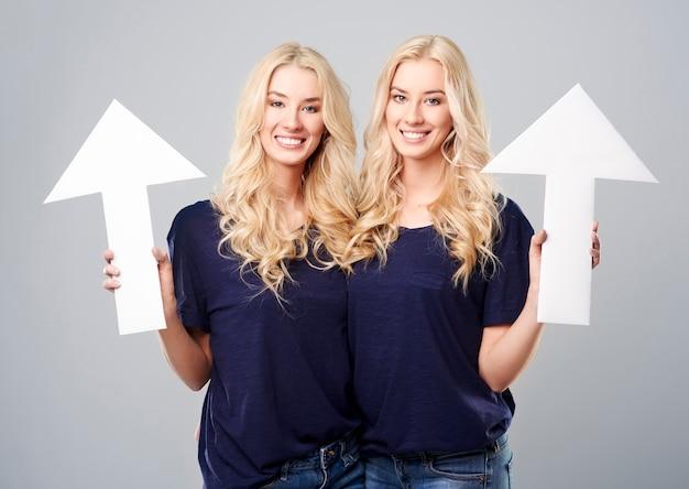 Mooie tweelingen die witte pijlen houden