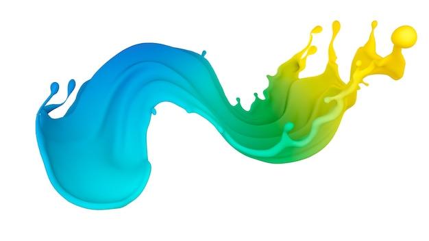Mooie veelkleurige scheut vloeistof of verf. 3d illustratie, 3d visualisatie.