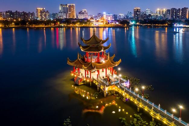 Mooie verfraaide traditionele chinese pagode met de stad van kaohsiung op achtergrond bij nacht