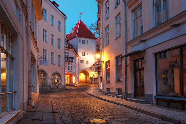 Mooie verlichte middeleeuwse straat in de oude binnenstad van tallinn tijdens de avond, estland