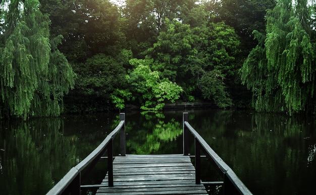 Mooie vijver met houten oever voor een ontspannen landschap