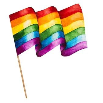 Mooie vlag met de afbeelding van de regenboog. close-up, weergave van bovenaf. vakantieconcept.