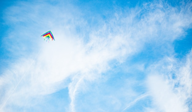 Mooie vlieger in felle kleuren van de regenboog vliegt tegen een zonnige blauwe lucht. concept jeugd van vrijheid en naïviteit.