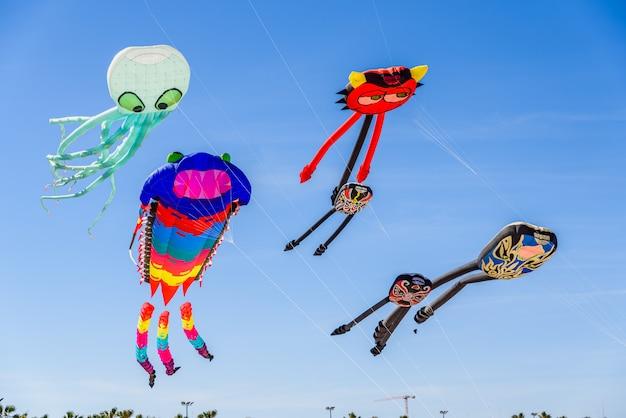 Mooie vliegers met originele vormen vliegen