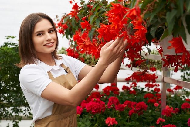 Mooie vrouw die de groei van rode bloemen bij kas controleert