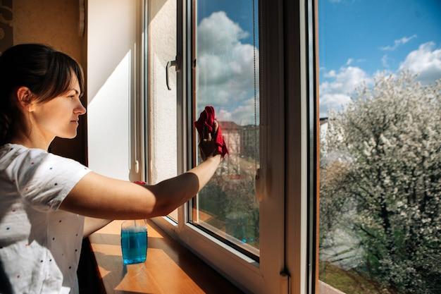 Mooie vrouw die raam thuis schoonmaakt