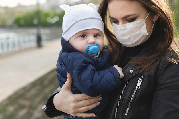 Mooie vrouw en haar zoon dragen beschermingsmasker voor coronavirus of covid-19 virusuitbraak en pm 2,5 in een stad