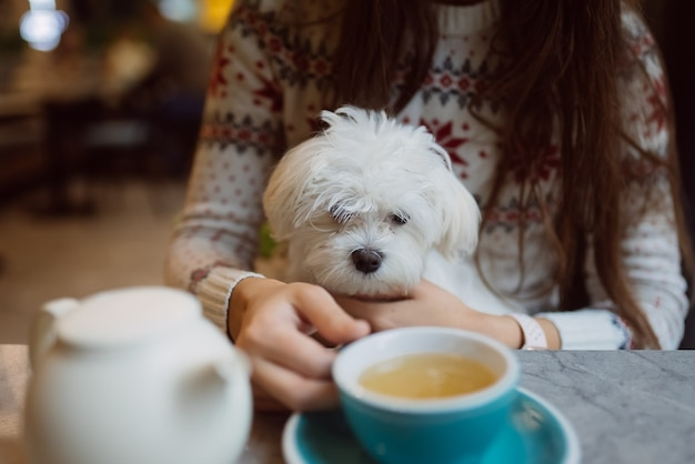 Mooie vrouw houdt haar schattige hond vast, drinkt koffie en lacht in café