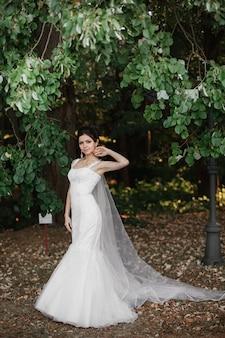 Mooie vrouw in een bruid van de de sluier van de huwelijkskleding