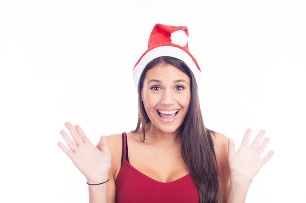 Mooie vrouw in kerstmuts