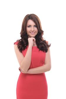 Mooie vrouw in rode jurk