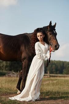 Mooie vrouw streelt een paard en houdt het hoofdstel in een veld