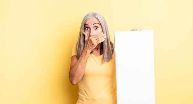 Mooie vrouw van middelbare leeftijd die mond bedekt met handen met een geschokt. leeg canvasconcept