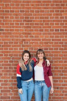 Mooie vrouwen die met bakstenen muur stellen