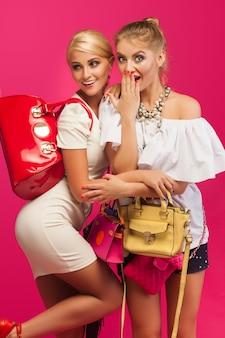 Mooie vrouwen op roze muur. vrouwtjes omringd door kleurrijke portemonnees en tassen en schoenen.