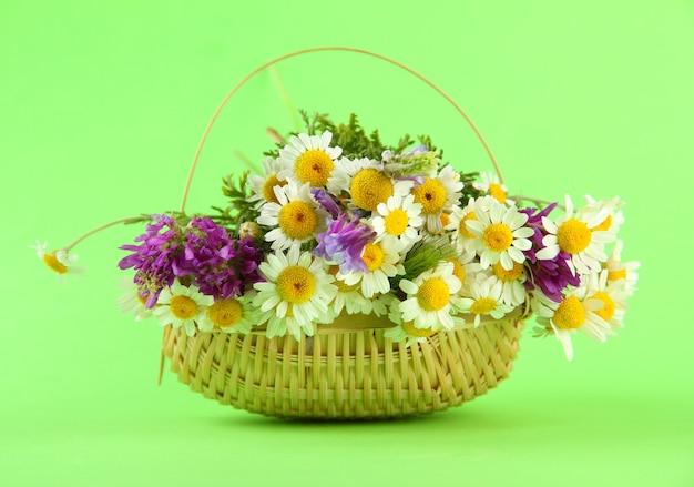 Mooie wilde bloemen in mand, op groene achtergrond