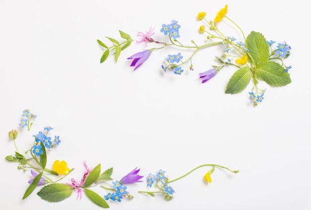 Mooie wilde bloemen op witte muur