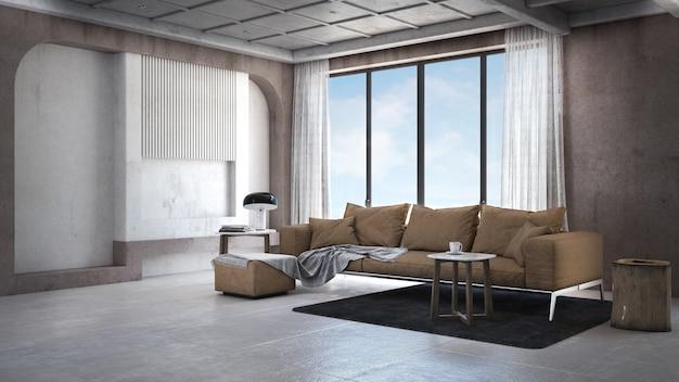 Mooie woonkamer in moderne woning met dubbele wastafel, bank, tafel, bijzettafel en tegelvloer in scandinavische stijl