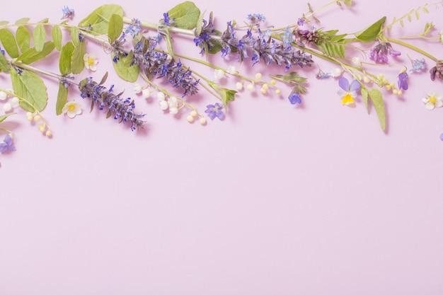 Mooie zomerbloemen op roze achtergrond