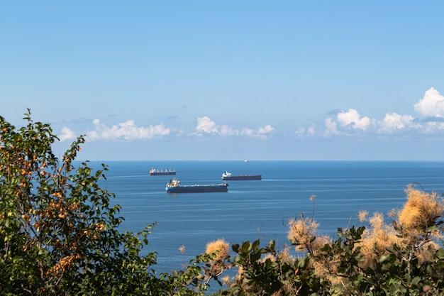 Mooie zomerse landschap blauwe zee wolken boven de horizon en verschillende vrachtschepen op de voorgrond