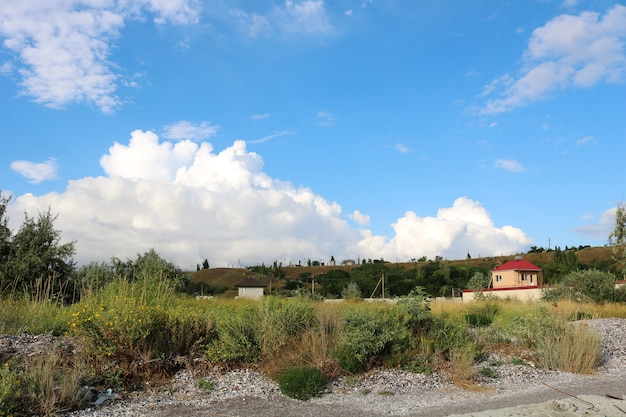 Mooie zomerse landschap met witte wolken in de blauwe lucht