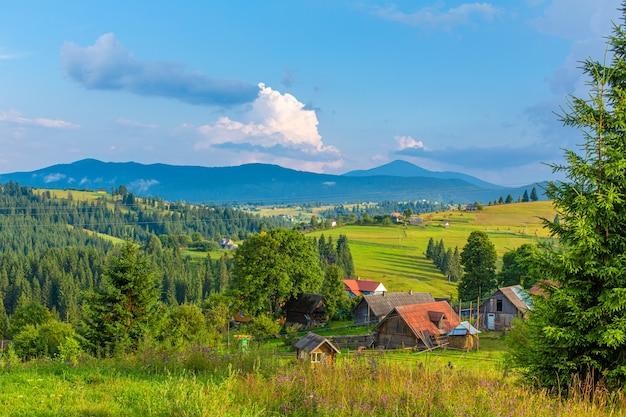 Mooie zomerse landschap van dorp onder karpaty-bergen.