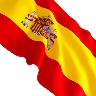 Mooie zwaaide vlag van spanje geïsoleerd op wit