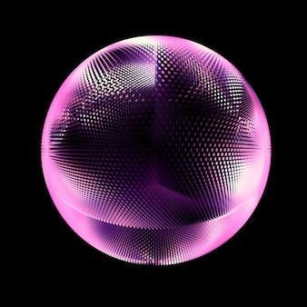 Mooie zwarte achtergrond met een paarse glitter. 3d-afbeelding, 3d-rendering.