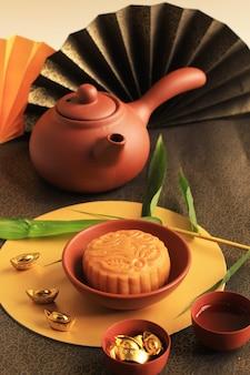 Moon cake chinese dessert snack tijdens het nieuwe maanjaar mid autumn festival