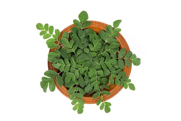 Moringa tak groene bladeren geïsoleerd op wit oppervlak. bovenaanzicht, plat lag.