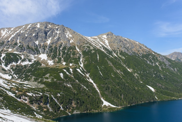 Morskie oko meer (oog van de zee) in tatra national park in de buurt van zakopane stad in polen