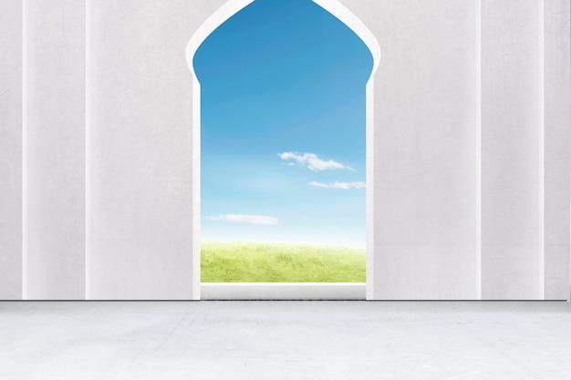 Moskee deur met een groen veld en een blauwe hemel