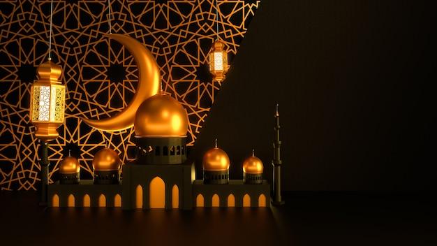 Moskee en kaarslantaarns met maan hangen op een donkere achtergrond met islamitisch ornament
