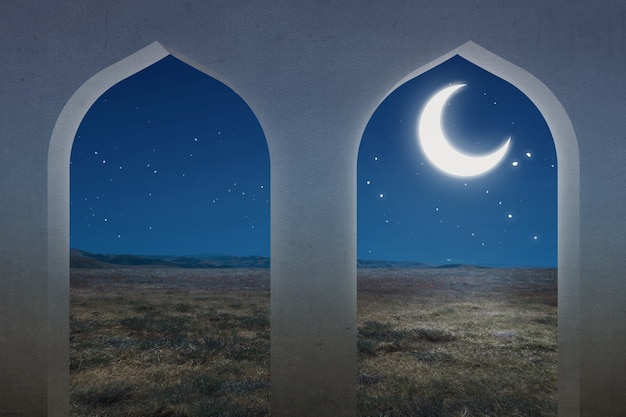 Moskee raam met uitzicht op de weide en de achtergrond van de nachtscène