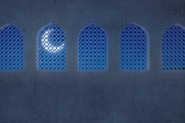 Moskee-venster met de achtergrond van de nachtscène