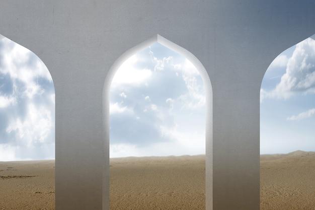 Moskee venster met uitzicht op de woestijn en een blauwe hemelachtergrond