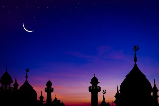 Moskeeën koepel in de schemering in de avond met toenemende maan en ster