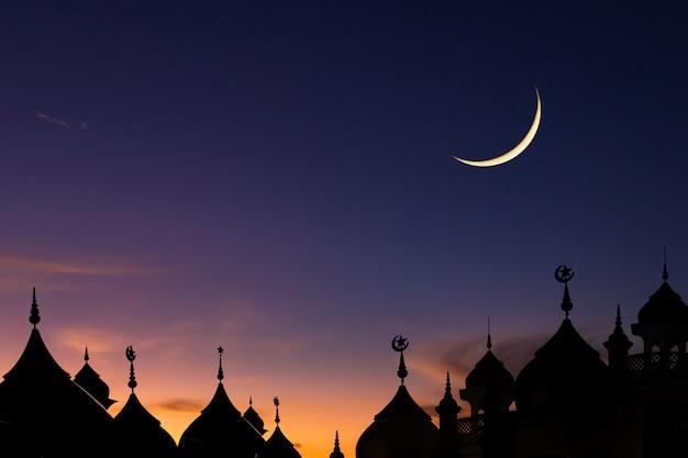 Moskeeën koepel op de schemering en de toenemende maan