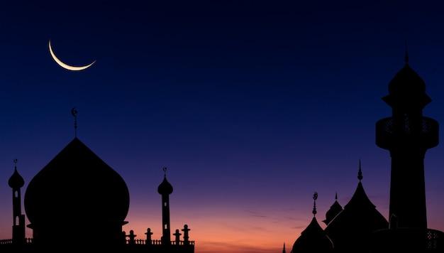 Moskeeën koepel wassende maan