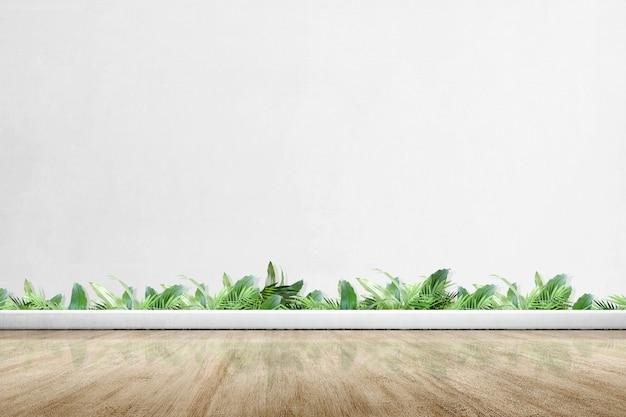 Moskeeterras met houten vloer en groene planten
