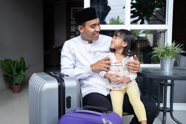 Moslim familievakantie concept eid mubarak