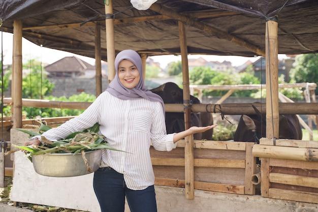 Moslim vrouwelijke boer dier voederen op traditionele boerderij