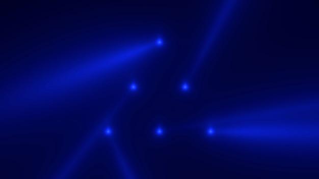 Motion blue gloeiende spotlight balken op donkere achtergrond in het podium. elegante en luxe 3d-illustratiestijl voor club- en entertainmentsjabloon