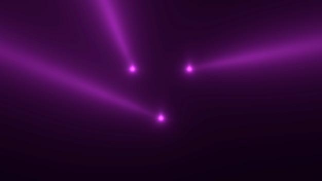 Motion paarse gloeiende spotlight balken op donkere achtergrond in het podium. elegante en luxe 3d-illustratiestijl voor club- en entertainmentsjabloon